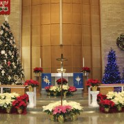 The Emmaus sanctuary decorated for Christmas